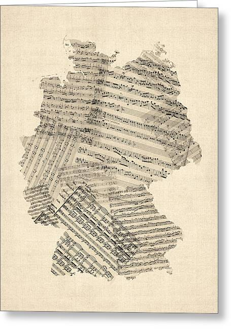 German Map Greeting Cards - Old Sheet Music Map of Germany Map Greeting Card by Michael Tompsett