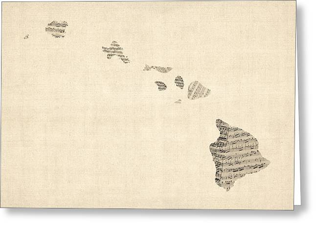 Music Score Digital Art Greeting Cards - Old Sheet Music Map of Hawaii Greeting Card by Michael Tompsett