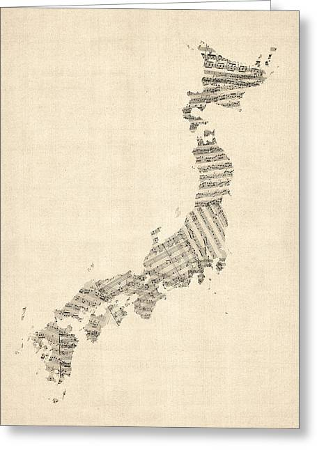 Japan Greeting Cards - Old Sheet Music Map of Japan Greeting Card by Michael Tompsett