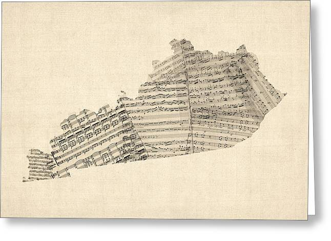Sheet Music Greeting Cards - Old Sheet Music Map of Kentucky Greeting Card by Michael Tompsett