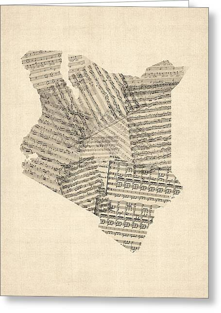 Africa Map Greeting Cards - Old Sheet Music Map of Kenya Map Greeting Card by Michael Tompsett