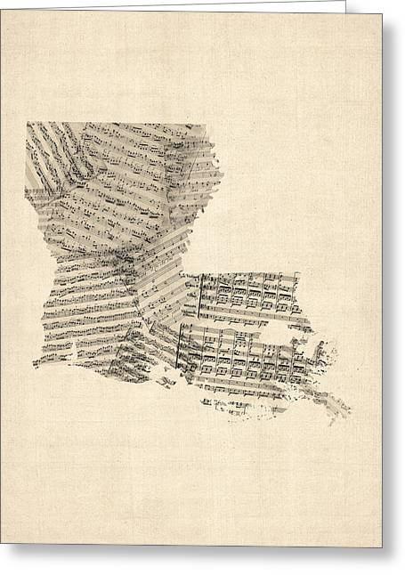 Louisiana Greeting Cards - Old Sheet Music Map of Louisiana Greeting Card by Michael Tompsett