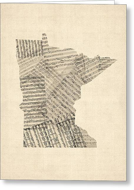 Music Score Digital Art Greeting Cards - Old Sheet Music Map of Minnesota Greeting Card by Michael Tompsett