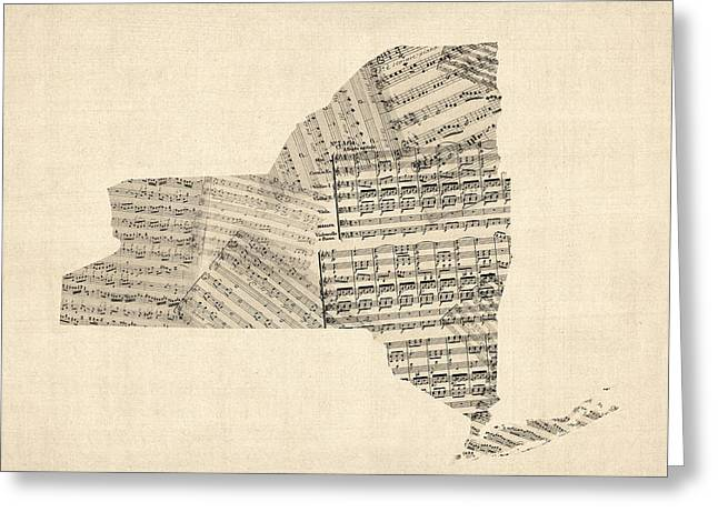 Music Score Digital Art Greeting Cards - Old Sheet Music Map of New York State Greeting Card by Michael Tompsett
