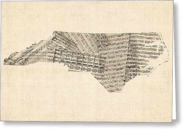 North Carolina Greeting Cards - Old Sheet Music Map of North Carolina Greeting Card by Michael Tompsett