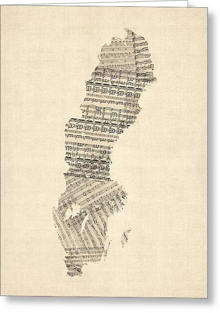 Sweden Greeting Cards - Old Sheet Music Map of Sweden Greeting Card by Michael Tompsett