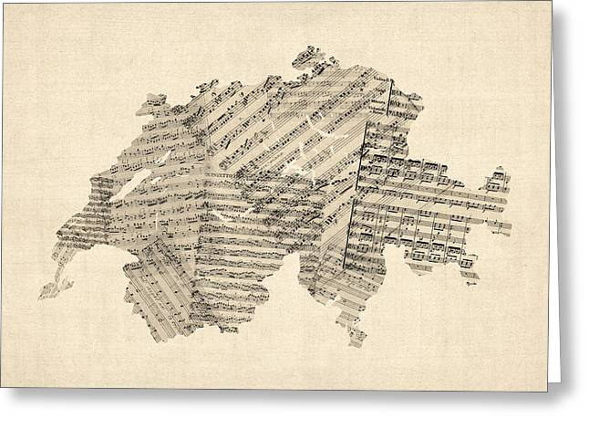 Music Score Digital Art Greeting Cards - Old Sheet Music Map of Switzerland Map Greeting Card by Michael Tompsett