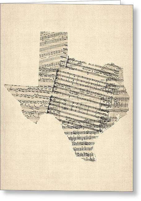 Texas Greeting Cards - Old Sheet Music Map of Texas Greeting Card by Michael Tompsett