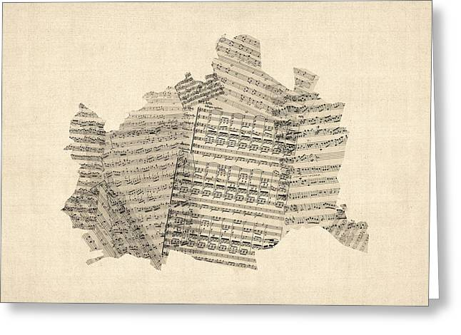 Austria Greeting Cards - Old Sheet Music Map of Vienna Austria Map Greeting Card by Michael Tompsett