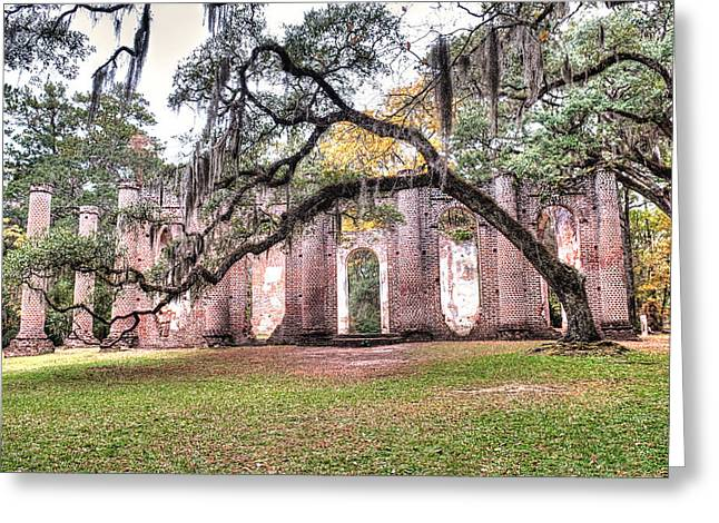 Old South Greeting Cards - Old Sheldon Church - Bending Oak Greeting Card by Scott Hansen