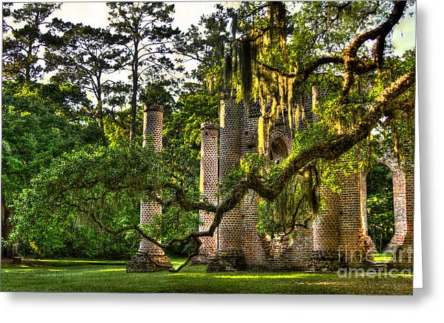 Civil War Site Greeting Cards - Old Sheldon Church Ruins in the Late Afternoon Greeting Card by Reid Callaway
