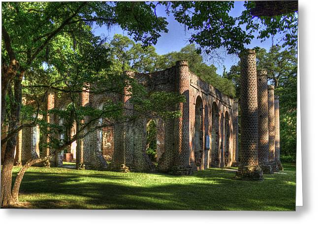 Civil War Site Photographs Greeting Cards - Old Sheldon Church near Beaufort SC Greeting Card by Reid Callaway
