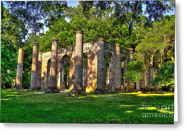 Civil War Site Photographs Greeting Cards - Old Sheldon Church Ruins in South Carolina Greeting Card by Reid Callaway