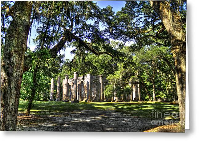 Civil War Site Greeting Cards - Old Sheldon Church Ruins near Beaufort SC Greeting Card by Reid Callaway