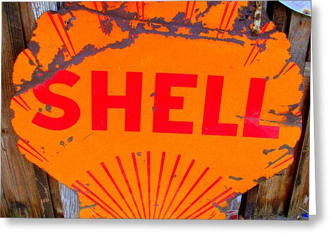 Shell Sign Greeting Cards - Old Shell Sign Greeting Card by Randall Weidner