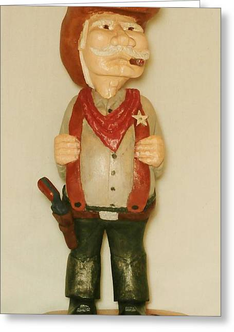 Wood Carving Sculptures Greeting Cards - Old Sheriff Greeting Card by Russell Ellingsworth