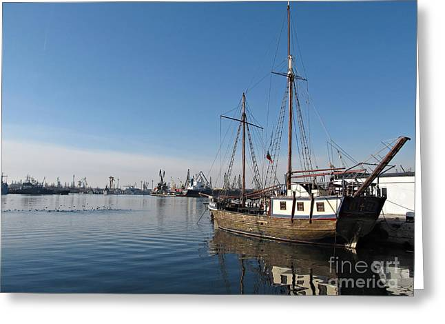 Wooden Ship Greeting Cards - Old Ship in Calm Water Harbor Greeting Card by Kiril Stanchev