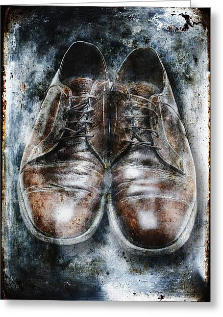 Despair Greeting Cards - Old Shoes Frozen In Ice Greeting Card by Skip Nall