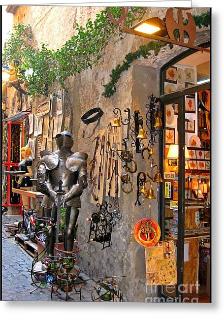 Knight In Shining Armour Greeting Cards - Old Shop in Greece Greeting Card by John Malone