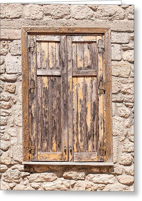 Wooden Building Greeting Cards - Old Shutter Greeting Card by Roy Pedersen