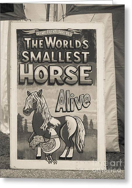 Freak Show Greeting Cards - Old Sideshow Poster Greeting Card by Edward Fielding