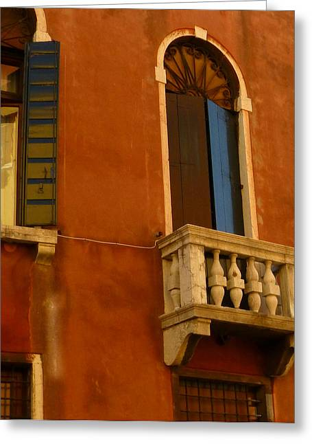 Venetian Balcony Greeting Cards - Venetian Old Sienna Walls  Greeting Card by Connie Handscomb