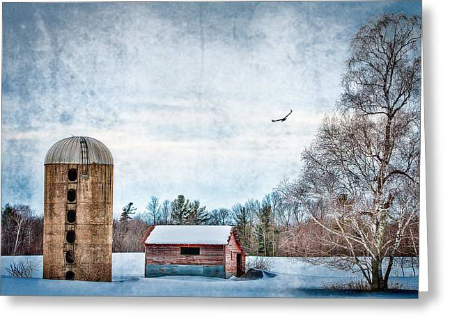 Winter Scenes Rural Scenes Greeting Cards - Old Silo Greeting Card by Paul Freidlund