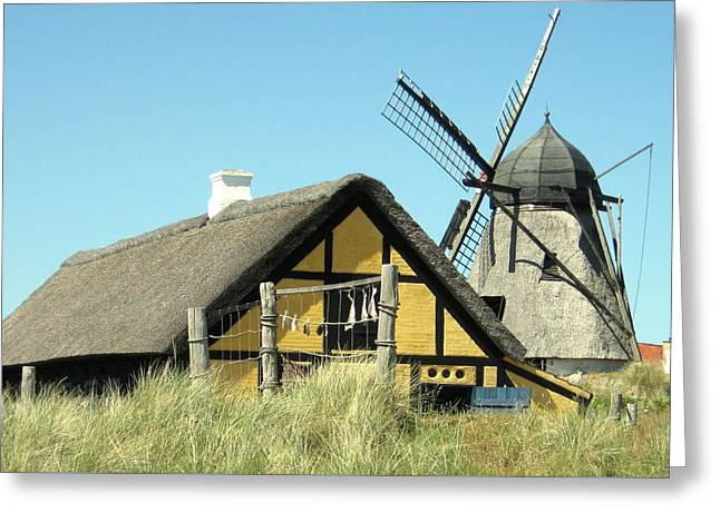 Skagen Greeting Cards - Old Skagen house and windmill Greeting Card by Konni Jensen
