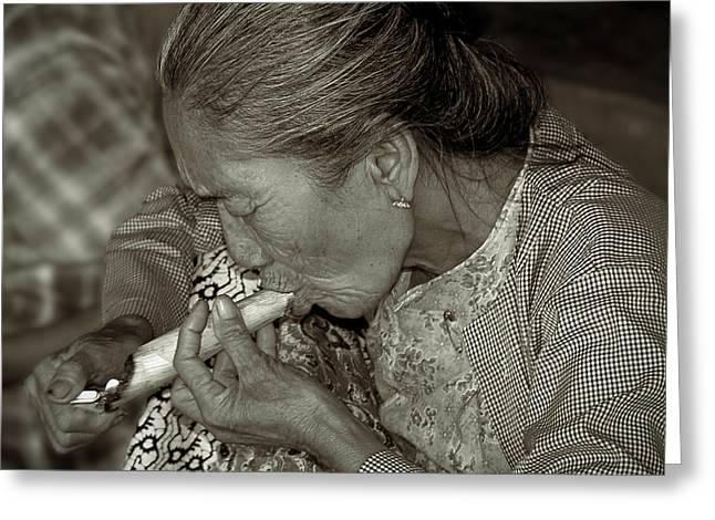 Bagan Greeting Cards - Old smoker woman Greeting Card by RicardMN Photography