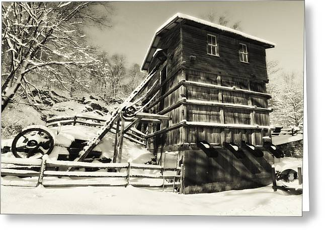 Red Mill Historic Village Greeting Cards - Old Snow Covered Quarry Mill Greeting Card by George Oze