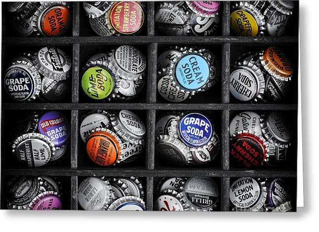 Black Top Greeting Cards - Old Soda bottle tops Greeting Card by Tim Gainey