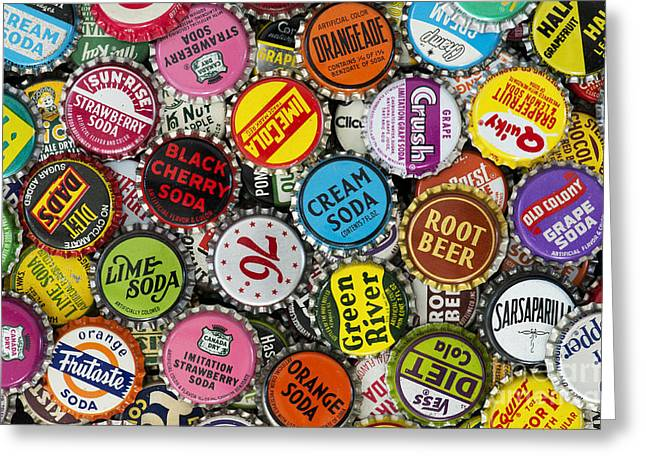 Bottle Cap Greeting Cards - Old Soda Caps  Greeting Card by Tim Gainey