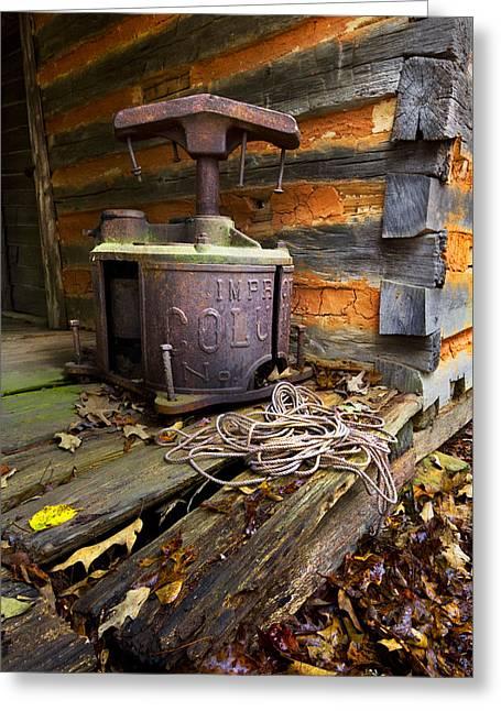 Tennessee Barn Greeting Cards - Old Sorghum Press Greeting Card by Debra and Dave Vanderlaan