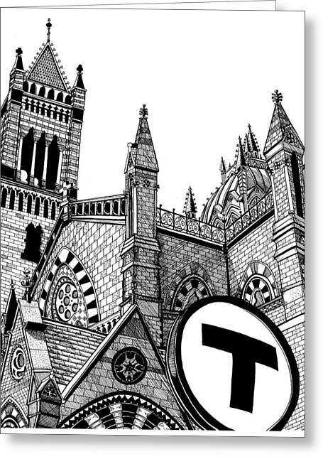 Boston Ma Drawings Greeting Cards - Old South Church Boston Greeting Card by Conor Plunkett