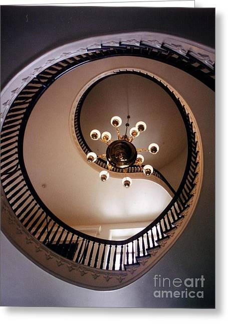 Wooden Stairs Greeting Cards - Old Southern Spiral Staircase Greeting Card by John Malone