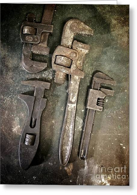Junk Greeting Cards - Old Spanners Greeting Card by Carlos Caetano