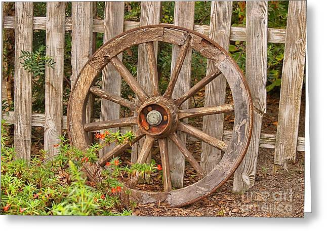 Wooden Wagons Greeting Cards - Old Spare Wheel Greeting Card by Chris Thaxter