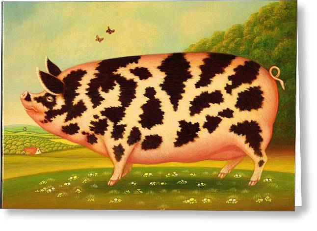 Summer Landscape Greeting Cards - Old Spot Pig, 1998 Oil & Tempera On Panel Greeting Card by Frances Broomfield