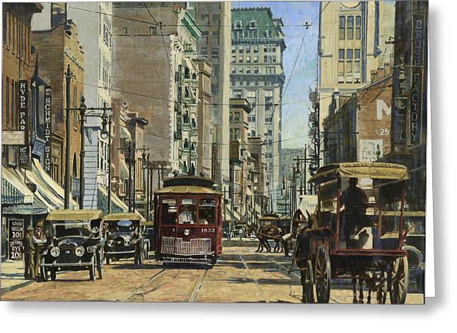 Horse And Cart Paintings Greeting Cards - Old St. Louis 11th and Olive Greeting Card by Don  Langeneckert