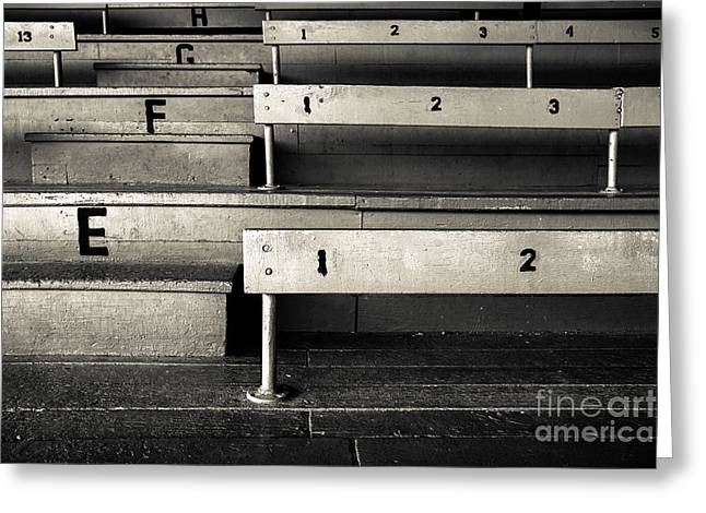 Baseball Stadiums Greeting Cards - Old Stadium Bleachers Greeting Card by Diane Diederich