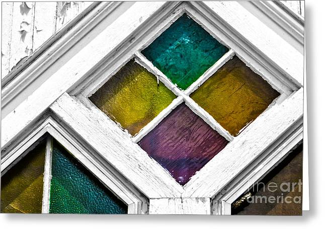 Geometric Style Greeting Cards - Old Stained Glass Windows Greeting Card by Dawn Gari