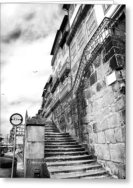 Old Stairs In Porto Greeting Card by John Rizzuto