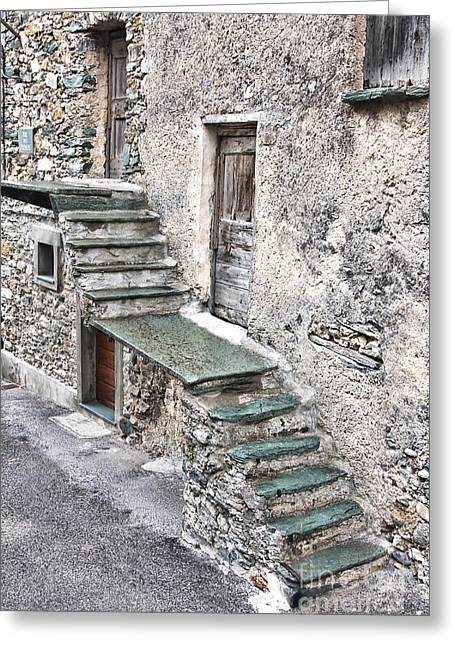 Stepping Stones Greeting Cards - Old stairway Greeting Card by Gabriela Insuratelu