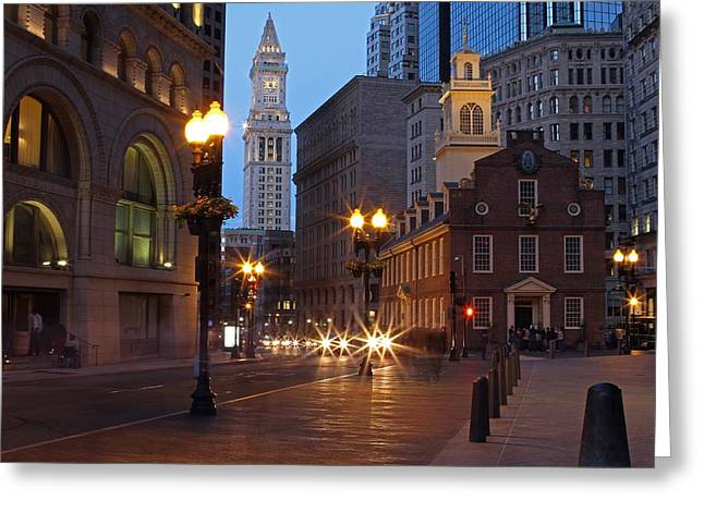 Clocktower Greeting Cards - Old State House and Custom House in Boston Greeting Card by Juergen Roth