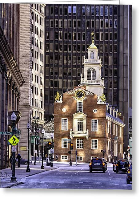 Boston Ma Greeting Cards - Old State House Boston MA Greeting Card by Betty Denise