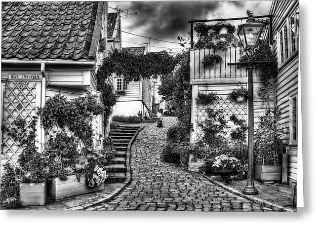 Norway Village Greeting Cards - Old Stavanger Part I Greeting Card by Erik Brede