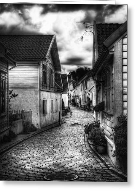 City Buildings Greeting Cards - Old Stavanger part II Greeting Card by Erik Brede