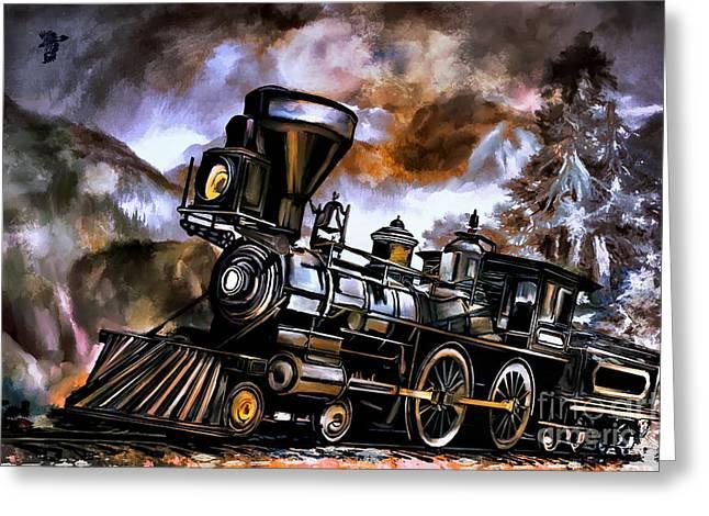 Old Steam Engine  Greeting Card by Andrzej Szczerski