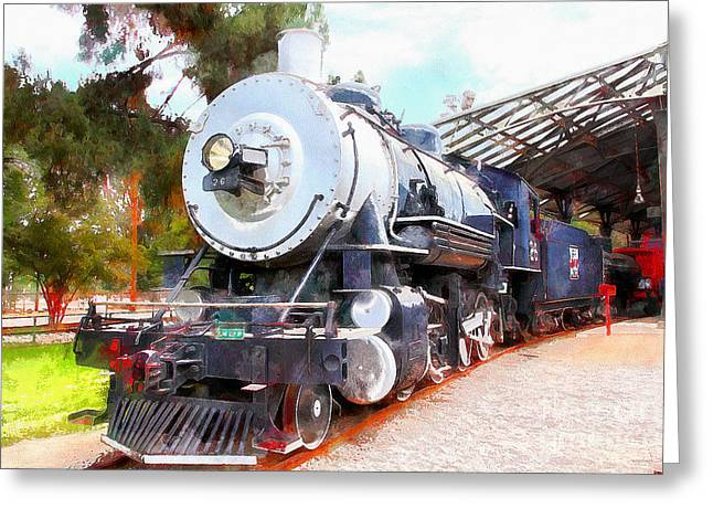 Stream Digital Art Greeting Cards - Old Steam Locomotive 5D29200wcstyle Greeting Card by Wingsdomain Art and Photography
