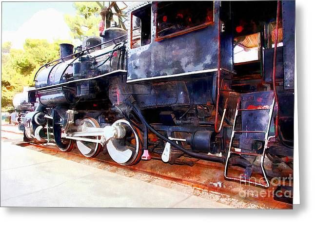 Stream Digital Art Greeting Cards - Old Steam Locomotive 5D29222wcstyle Greeting Card by Wingsdomain Art and Photography